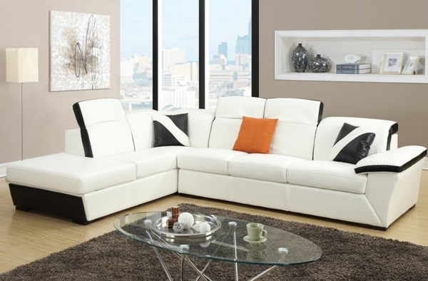 Sienna Contemporary White Black Bonded Leather PU Sectional Sofa ACM-51625