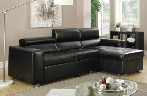 Aidan Contemporary Black Bonded Leather PU Sectional Sofa ACM-51640