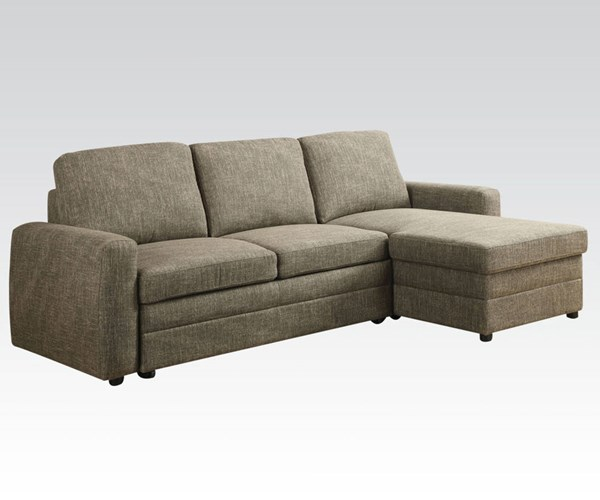 Derwyn Contemporary Light Brown Fabric Sectional Sofa ACM-51645