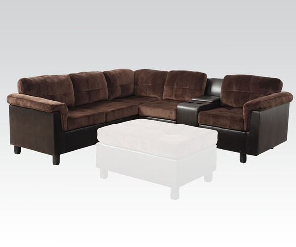 Cleavon Espresso Chocolate Wood PU Reversible Sectional Sofa ACM-51665