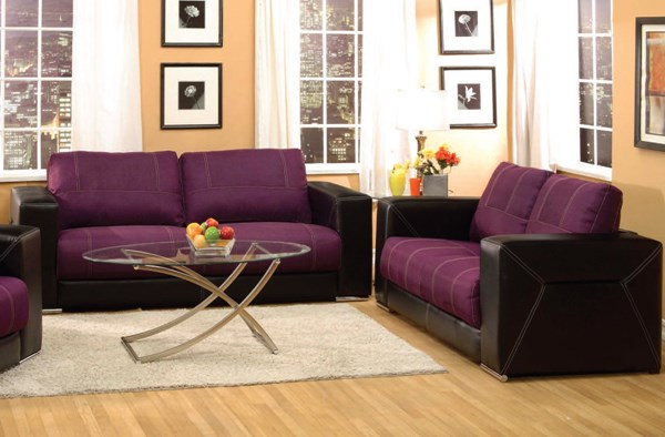 Brayden Purple Black Fabric PU Wood Living Room Set ACM-51680-85-LR