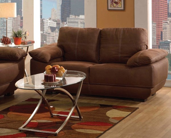 Memphis Chocolate Leather Wood Tight Back Loveseat ACM-51726