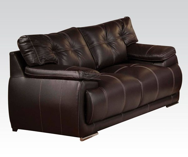 Terrence Espresso PU Wood Tight Back & Seat Loveseat ACM-51741