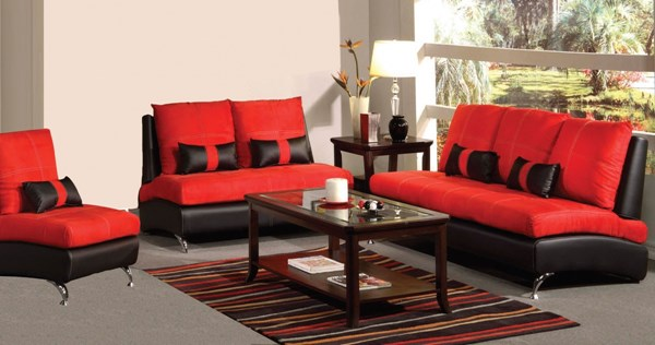 Jolie Red Black Leather PU Wood 3pc Living Room Sets ACM-51745-62-LR-S-VAR