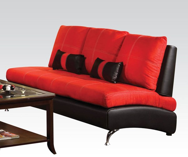 Jolie Red Black Leather PU Wood Sofa w/2 Pillows ACM-51745
