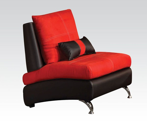 Jolie Red Black Leather PU Wood Chairs W/Pillows ACM-51747-62-CH-VAR