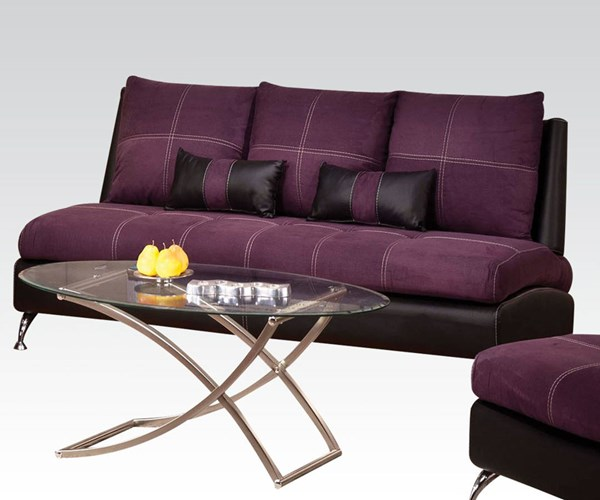 Jolie Purple Black Leather PU Wood Sofa w/2 Pillows ACM-51750