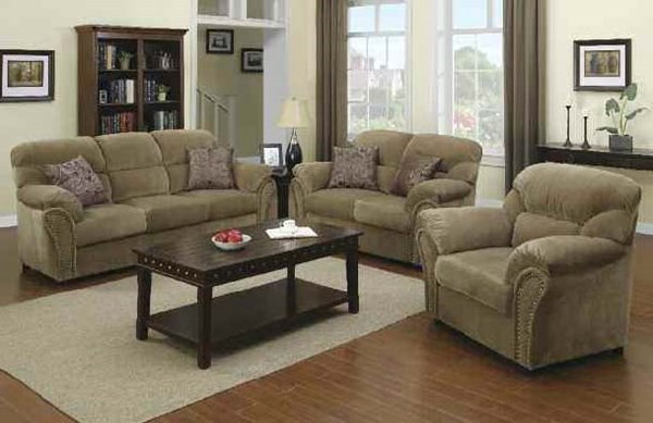 Patricia Standard Fabric Wood Loveseats W/2 Pillows ACM-5195-Loveseat