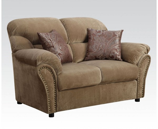 Patricia Light Brown Fabric Wood Loveseat w/2 Pillows ACM-51951