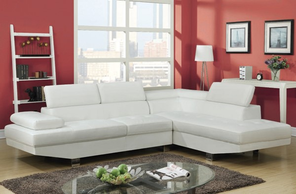 Connor Contemporary White Wood PU Metal Sectional Sofa ACM-51960