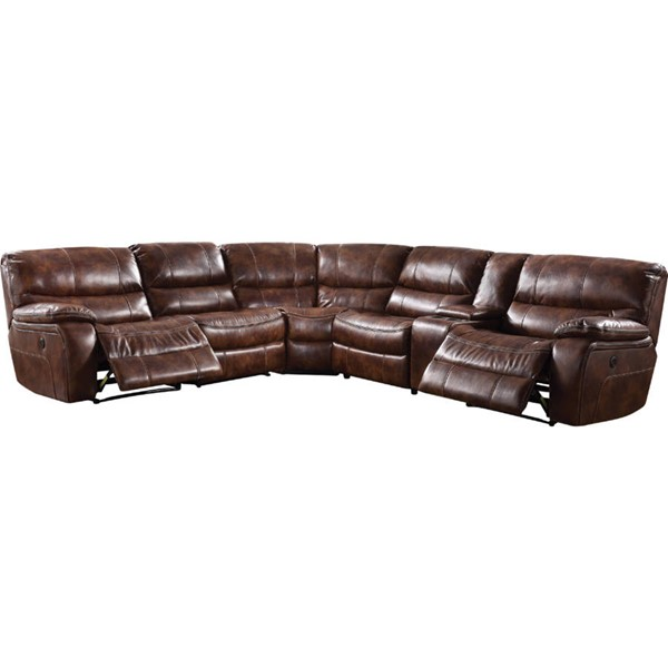 Acme Furniture Brax Brown Sectional Power Motion and USB Sofa ACM-52070