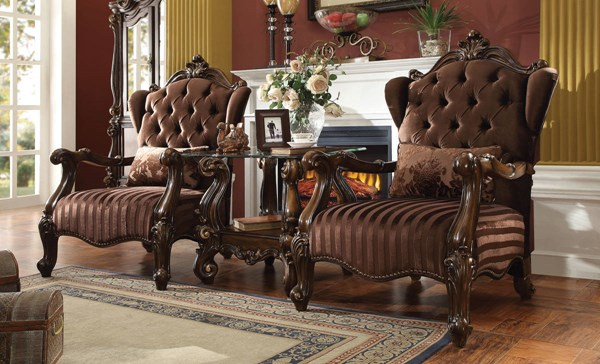 Versailles Traditional Brown Oak IvoryFabric Wood Chairs ACM-52082-CH-VAR