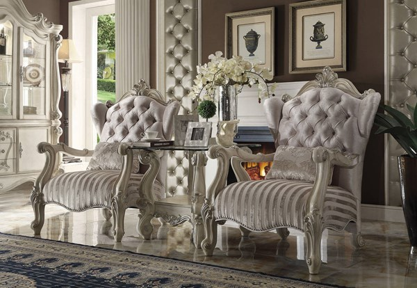 Versailles Traditional Ivory White Fabric Wood Chair w/1 Pillow ACM-52087