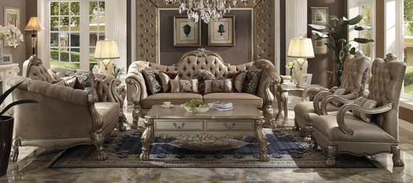 Dresden Traditional Gold Patina Fabric PU Wood 3pc Living Room Sets ACM-5209-LR-S2