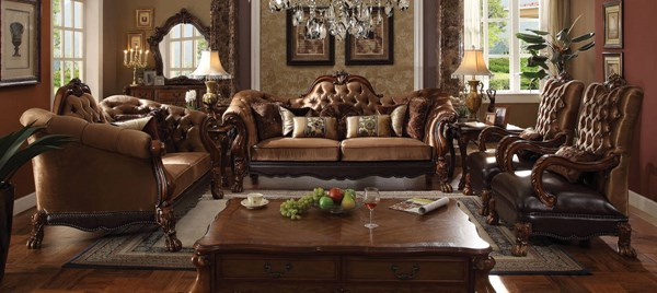 Dresden Golden Brown Cherry Oak Fabric PU Wood 3pc Living Room Sets ACM-5209-LR-S3