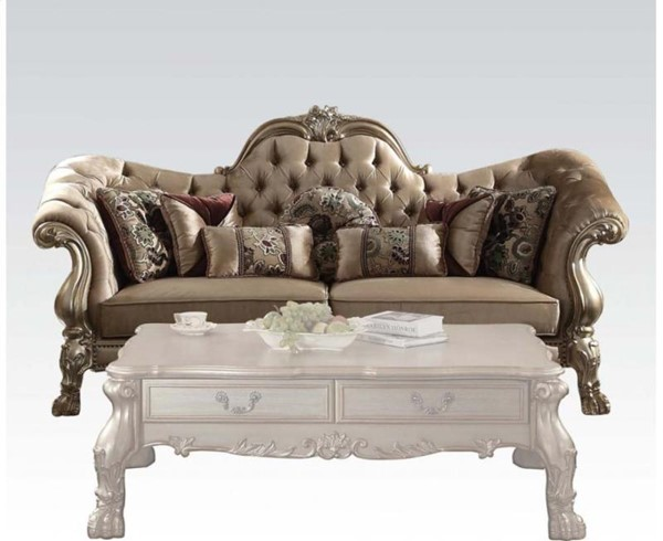 Acme Furniture Dresden Gold Patina Sofa with Seven Pillows ACM-52090