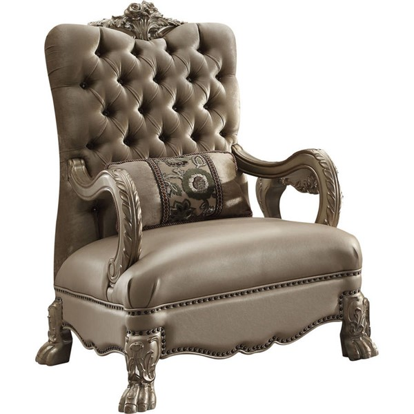 Acme Furniture Dresden Gold Patina One Pillow Accent Chair ACM-52092