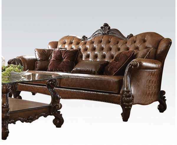 Versailles Traditional Brown Oak Ivory PU Wood Fabric Sofas ACM-52100-SF-VAR