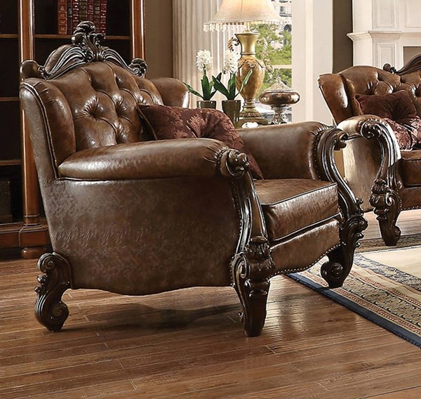 Versailles Traditional Brown Oak Ivory PU Wood Chairs ACM-52102-CH-VAR