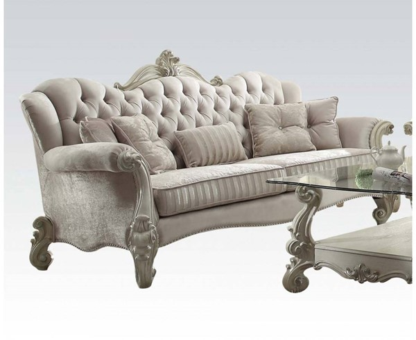 Versailles Traditional Ivory Bone White Fabric Wood Sofa w/5 Pillows ACM-52105