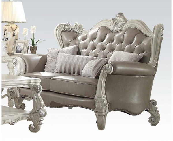 Versailles Traditional Gray White PU Wood Loveseat w/4 Pillows ACM-52126