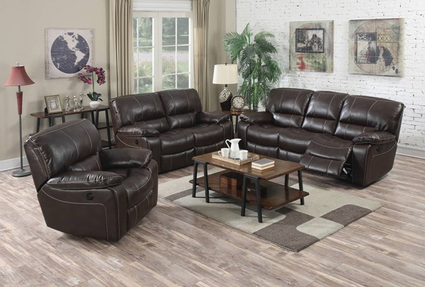 Kimberly Brown Faux Leather Metal Power Motion 3pc Living Room Set ACM-5213-LR-S2