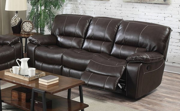 Kimberly Brown Faux Leather Metal Motion Sofa ACM-52130