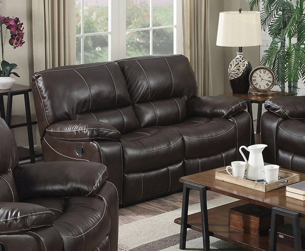 Kimberly Brown Faux Leather Metal Motion Loveseat ACM-52131