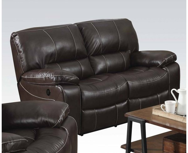 Kimberly Brown Faux Leather Metal Power Motion Loveseat ACM-52136