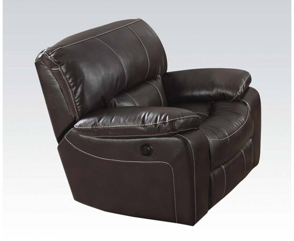 Kimberly Brown Faux Leather Metal Power Motion Recliner ACM-52137