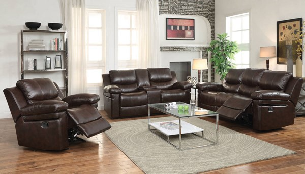 Xenos Dark Brown Faux Leather Metal Wood Motion Living Room Set ACM-52140-LR