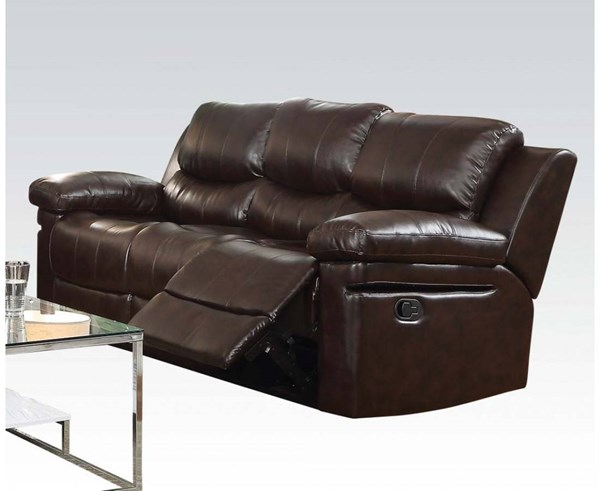 Xenos Dark Brown Faux Leather Metal Wood Motion Sofa ACM-52140