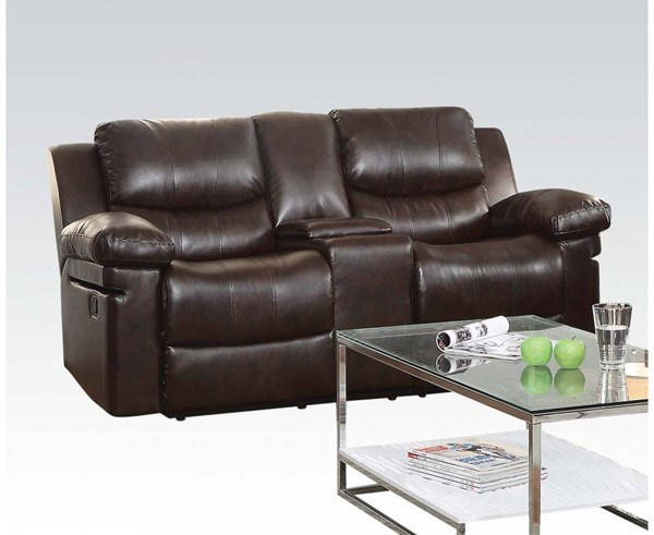Xenos Dark Brown Faux Leather Metal Wood Motion Loveseat w/Console ACM-52141