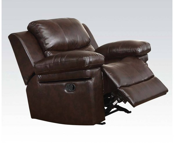 Xenos Dark Brown Faux Leather Metal Wood Motion Glider Recliner ACM-52142