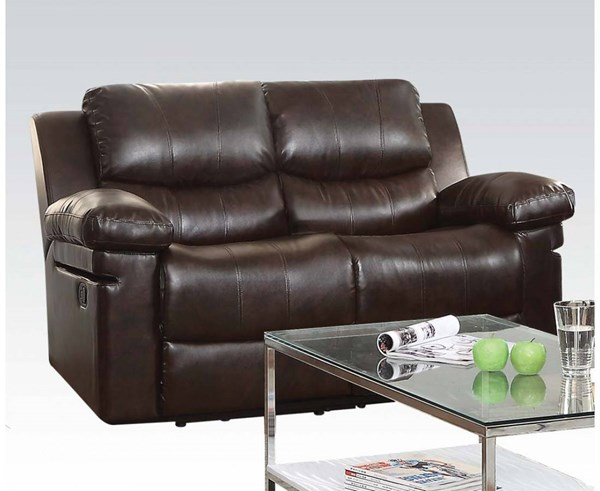 Xenos Dark Brown Faux Leather Metal Wood Motion Loveseat w/o Console ACM-52143