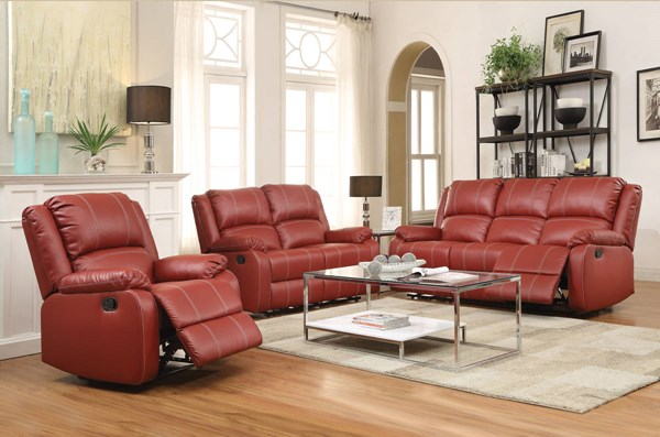 Zuriel Red Brown Black Wood Metal Motion Living Room Set ACM-52150-LR