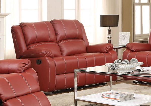 Zuriel Red Brown Black Wood Metal Motion Loveseats ACM-52151-LS-VAR