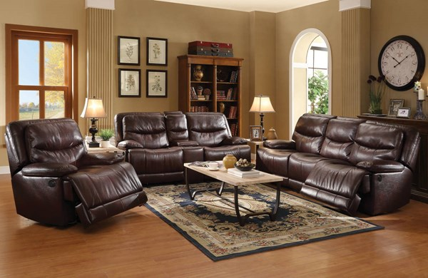 Cerviel Burgundy Faux Leather Wood Metal Living Room Set Living Rooms The Classy Home Best