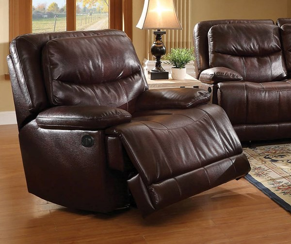 Cerviel Burgundy Faux Leather Wood Metal Power Motion Recliner ACM-52162