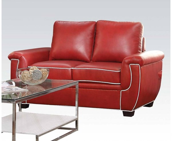 Sariel Red White PU Wood Plastic Loveseat ACM-52171