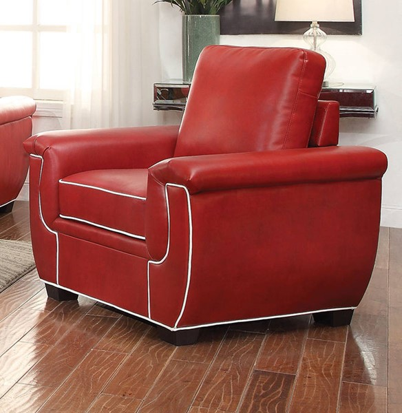 Sariel Red White PU Wood Plastic Loose Back & Tight Seat Chair ACM-52172
