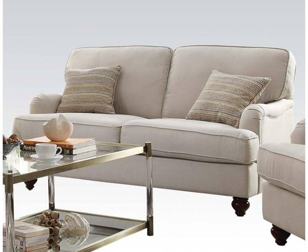 Syshe Beige Fabric Wood Loveseat w/2 Pillows ACM-52186