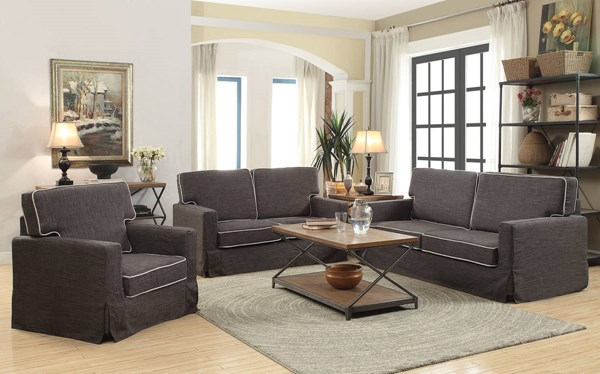 Fostord Black Cream Fabric Wood 3pc Living Room Sets ACM-5219-LR-S1