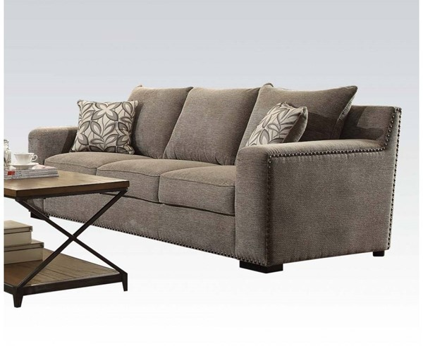 Ushury Contemporary Gray Fabric Wood Sofa w/2 Pillow ACM-52190