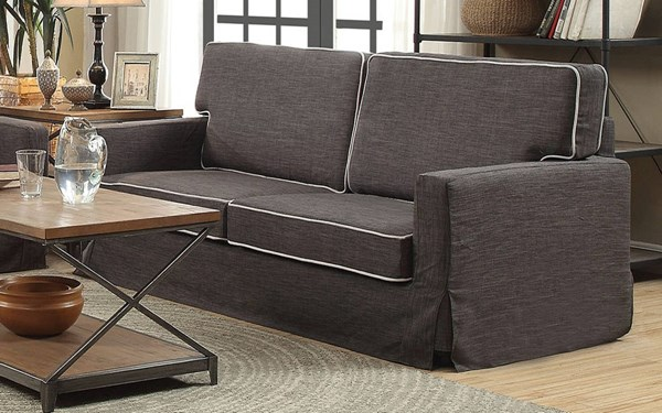 Fostord Black Cream Fabric Wood Loose Seat & Back Cushion Sofa ACM-52195