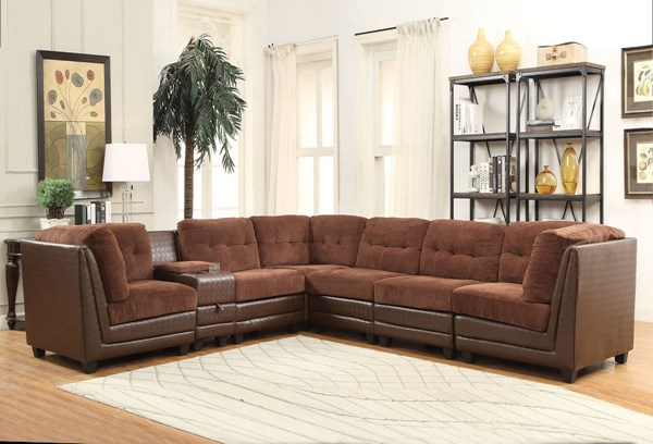 Vlord Brown Fabric PU Wood Reversible Sectional Sofa ACM-52230