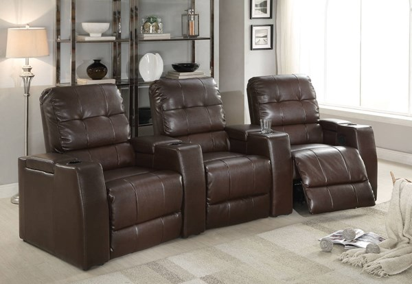 Clico Brown Bonded Leather Wood Motion Home Theater ACM-52235