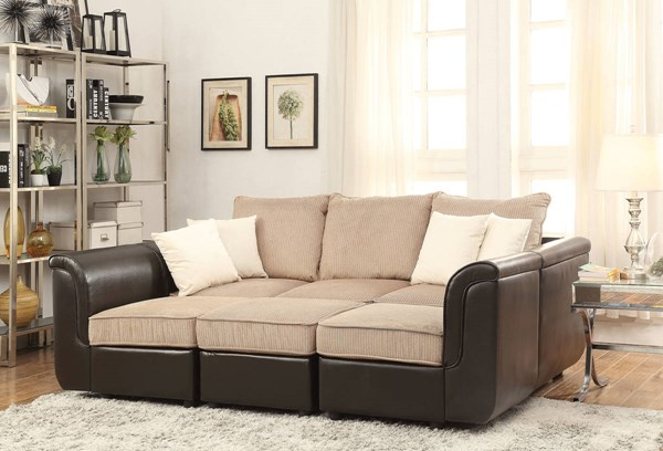 Caisy Brown Fabric PU Wood Reversible Sectional Sofa & Ottoman ACM-52245