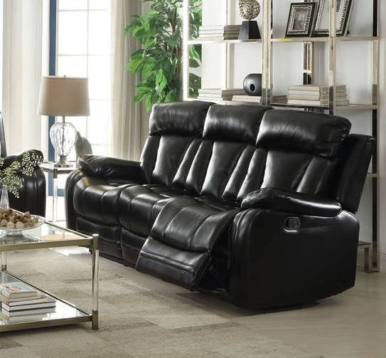 Isidro Black Gray Faux Leather Wood Metal Motion Sofas ACM-ISIDRO-SF-VAR