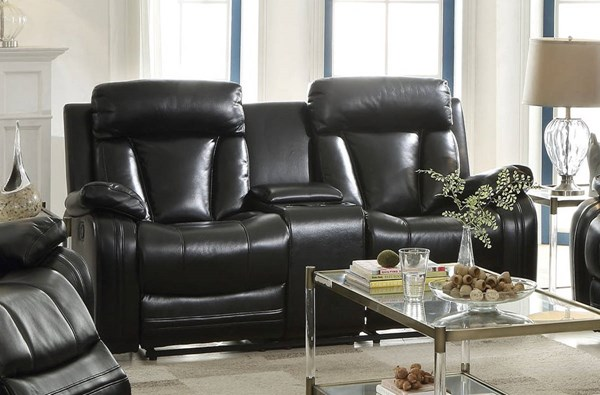 Isidro Black Faux Leather Wood Metal Motion Loveseat w/Console ACM-52256